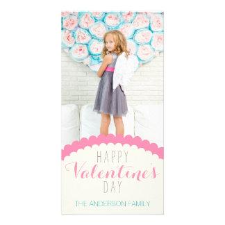 Simple Clean Cream Pink Blue Valentine Photo Card
