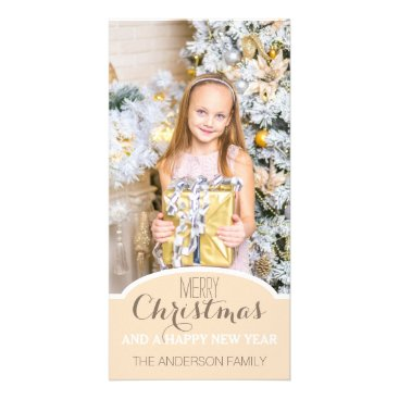 Christmas Themed Simple Clean Cream White Christmas Holiday Photo Card