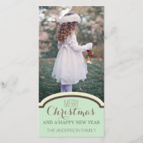Simple Clean Green Cream Christmas Holiday Photo