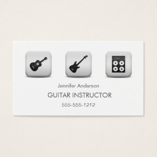 Simple Clean GUITAR Music Tutor Photo Collage Business Card