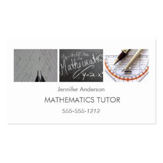 Simple Clean Mathematics Math Tutor Photo Collage Business Card