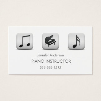 Simple Clean Piano Music Tutor Photo Collage Business Card