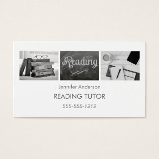 Simple Clean Reading Tutor Photo Collage Business Card