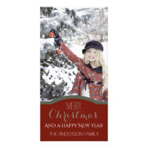 Simple Clean Red Green Christmas Holiday Photo Card