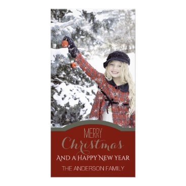 Christmas Themed Simple Clean Red Green Christmas Holiday Photo Card