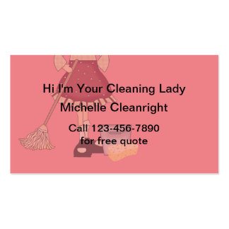 Simple Cleaning Lady Business Cards