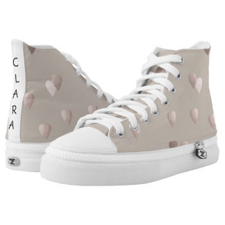 simple clear rose gold foil love hearts, neutral High-Top sneakers