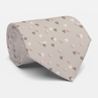 simple clear rose gold love hearts, neutral neck tie