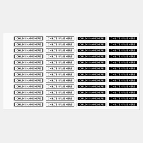 Simple Clothing Name Tags Black and White Kids Labels