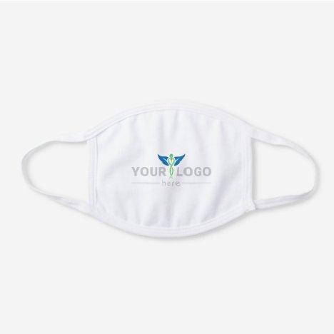 Simple Company Logo White Premium White Cotton Face Mask