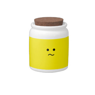 Simple Confused Meh Yellow Face Candy Dish