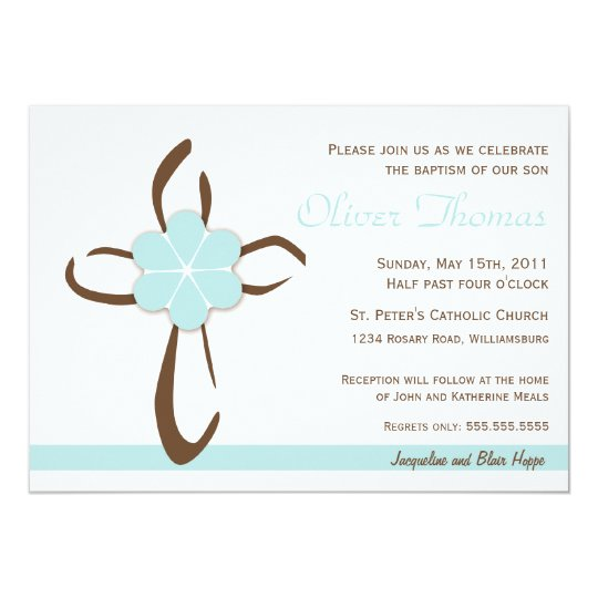 Simple Contemporary Cross with Blue Flower Card