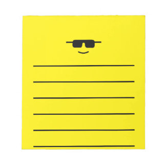 Simple Cool Shades Yellow Face Notepad