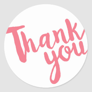 Simple coral pink and white thank you sticker
