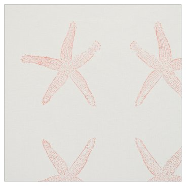 Beach Themed Simple Coral Starfish Fabric