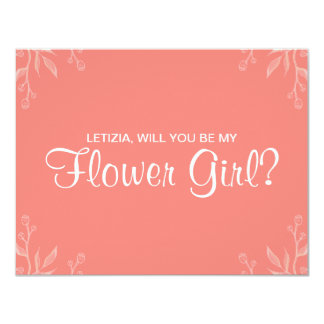 "Simple Coral ""will you be my flower girl"" Card"