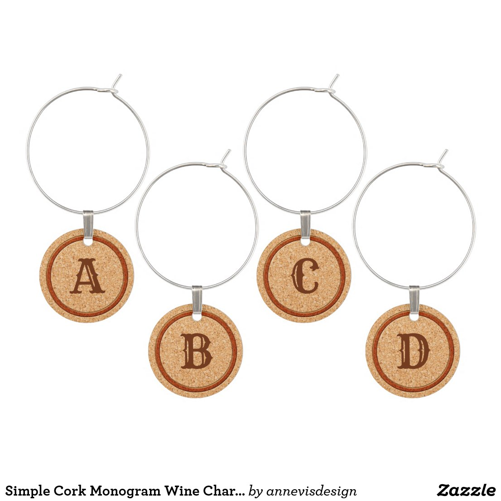 Simple Cork Monogram Wine Charms