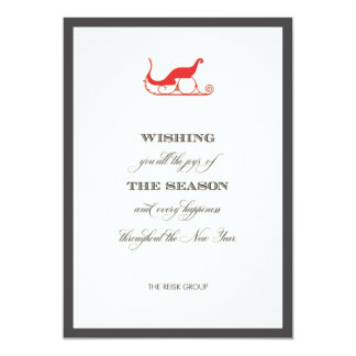 Simple Corporate Red Sleigh, Holiday Greeting Card Personalized Invite