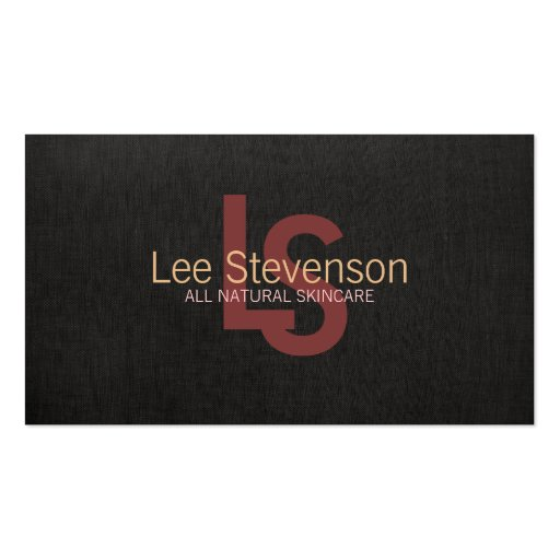 Simple Cosmetology Natural Beauty Black Linen Look Business Cards