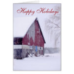 Simple Country Barn Snow Christmas greeting cards