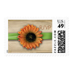Simple Country Sunflower Green Ribbon RSVP Stamps