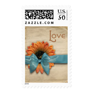 Simple Country Sunflower Wedding Love Aqua Blue Postage