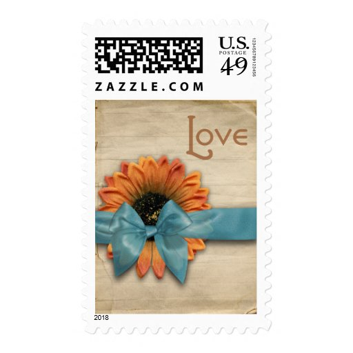 Simple Country Sunflower Wedding Love Aqua Blue Stamps
