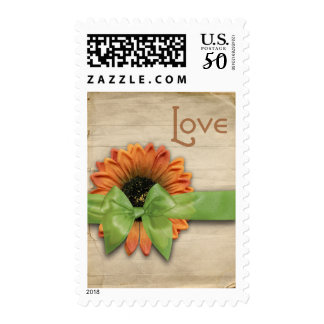 Simple Country Sunflower Wedding Love Green Ribbon Postage