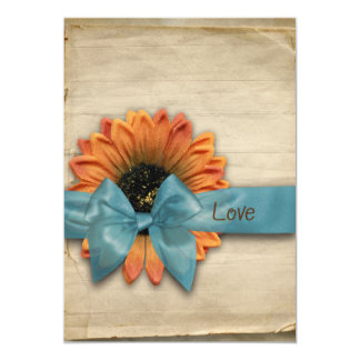 Simple Country Sunflower Wedding Personalized 5x7 Paper Invitation Card