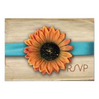 Simple Country Sunflower Wedding RSVP Aqua Blue 3.5x5 Paper Invitation Card