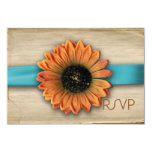 Simple Country Sunflower Wedding RSVP Custom Invitation