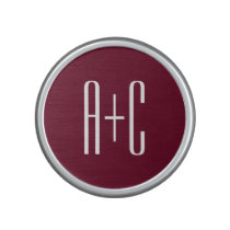 Simple Couples Initials | White & Burgundy Bluetooth Speaker