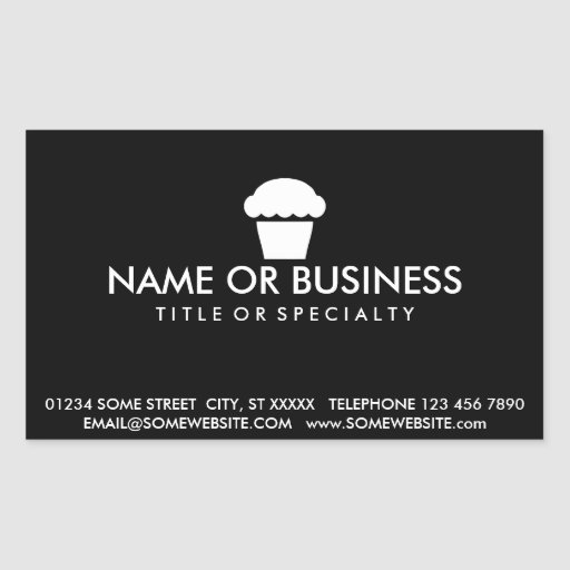 Simple cupcake business card sticker zazzle for Business cards stickers
