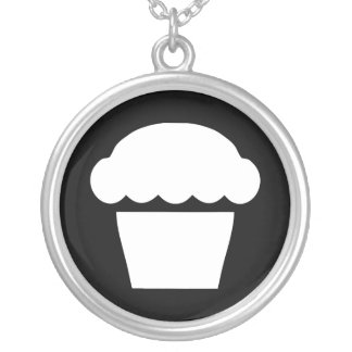 simple cupcake / muffin silver plated necklace