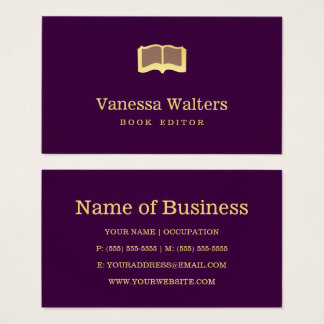 Simple Custom Color Book Editor Elegant Gold Book Business Card