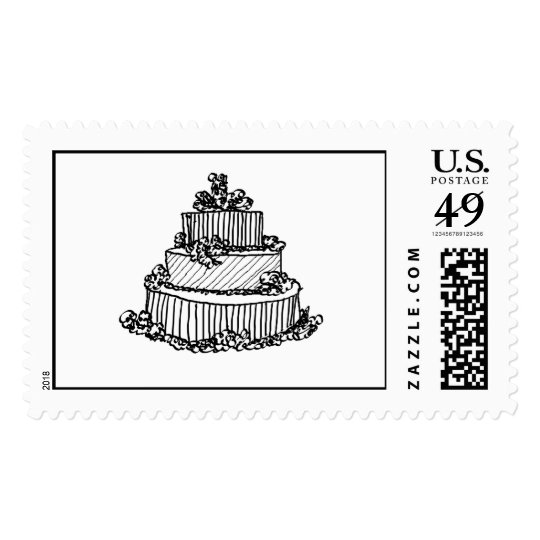 Simple Custom Wedding Cake RSVP Invite Save Date Postage