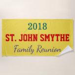 [ Thumbnail: Simple, Customizable Family Reunion Beach Towel ]
