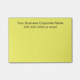 Simple Customized Business Company Name on Yellow Post-it® Notes