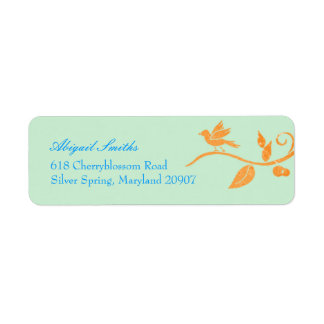 Simple, Cute Mint Green Bird Theme Address Labels