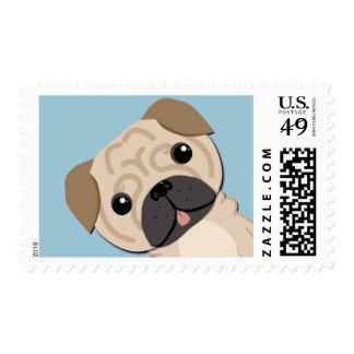 Simple cute pug postage stamp