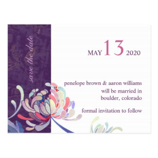 Simple & Cute Purple Floral Save the Date Postcard