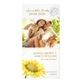 Simple, Cute Sunflower Wedding Save the Date Photo Card