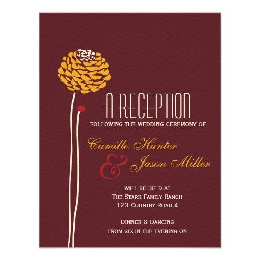 Simple Dahlia - Autumn Rustic Textured Reception Personalized Invitations