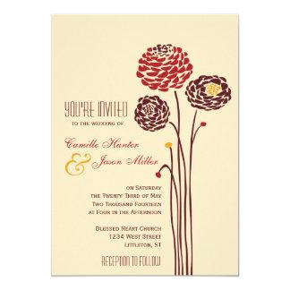 Simple Dahlia - Autumn Rustic Textured Wedding Card