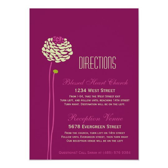 Simple Dahlia - Green & Purple Directions Insert Card