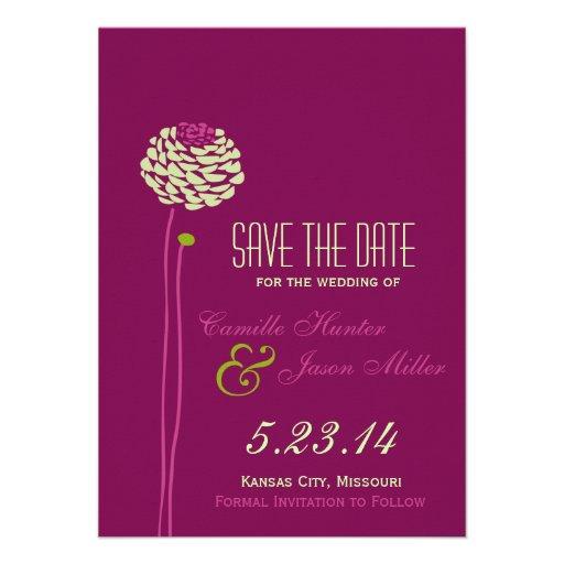 Simple Dahlia - Green & Purple Save the Date Custom Announcement