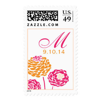 Simple Dahlia - Pink & Orange Bright Wedding Stamp