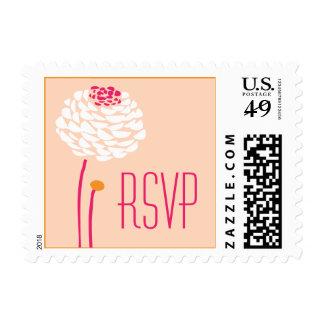 Simple Dahlia - Pink & Orange Bright Wedding RSVP Postage Stamps
