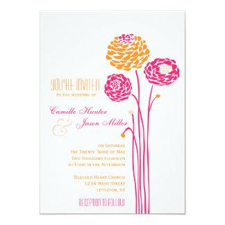 Simple Dahlia - Pink & Orange Wedding Card
