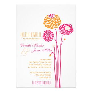 Simple Dahlia - Pink Orange Wedding Custom Invite